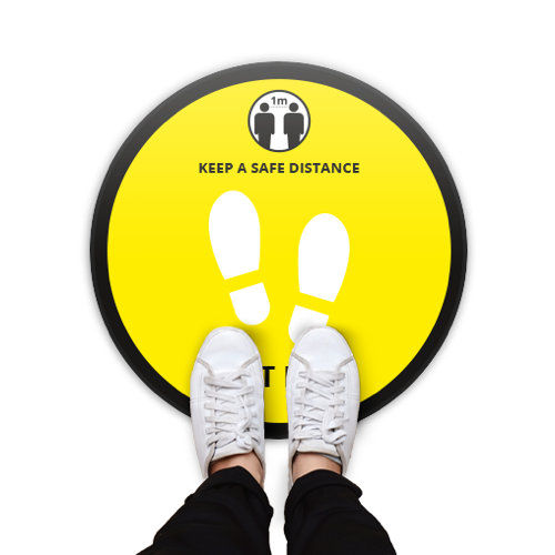 Covid-19 Round Safety Floor Stickers - Yellow