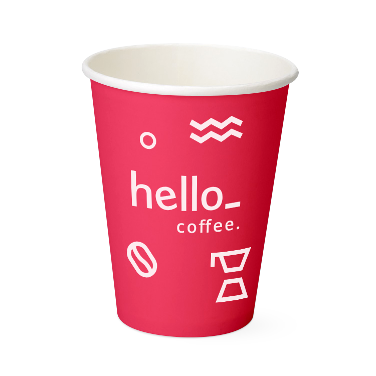 A red coloured paper cup available with personalised printing solutions at a cheap price at Helloprint
