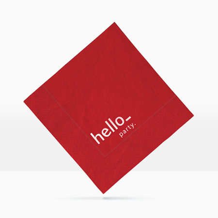A red coloured printed napkin available at Helloprint with custom printing options for a cheap price