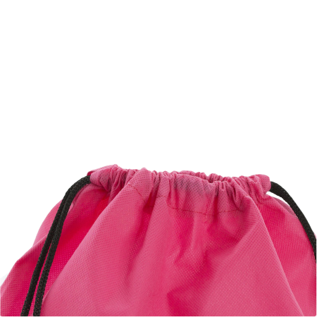 The top of a non woven pink drawstring bag available with custom printing options for a cheap price at Helloprint