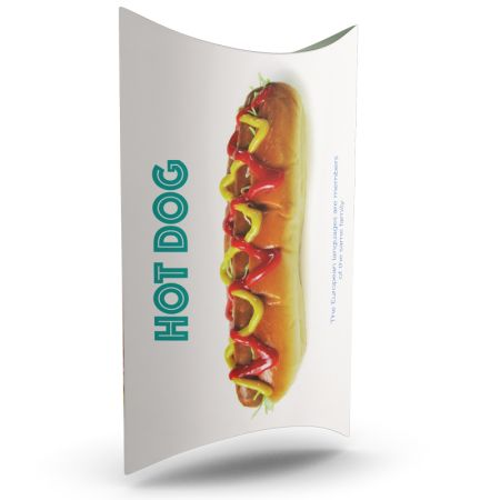 A food packaging box printed with a hot dog; to personalize with its visual on Helloprint
