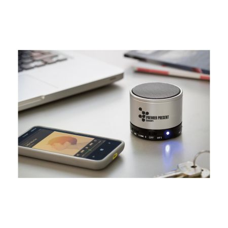 Mini bluetooth speaker to play music. Speaker can be personalised at Helloprint with your own logo or design.