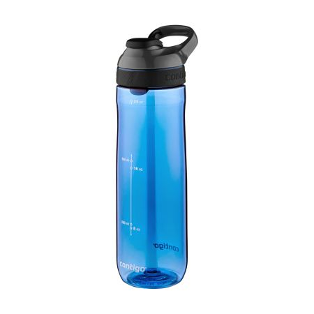 A blue coloured contigo cortland water bottle available at Helloprint with a custom logo or image printed on the side.