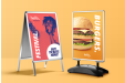 A banner highlighting outdoor printed pavement signs available at Helloprint with custom printing options for a cheap price