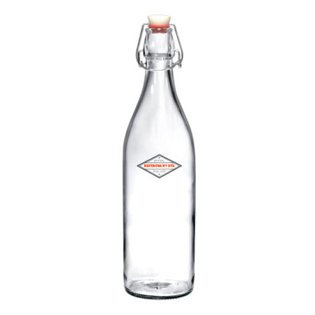 A 1 litre cliplock glass bottle available with custom printing solutions for a cheap price at Helloprint