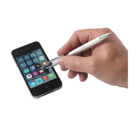 An EbonySet writing pen showcased above a mobile device.