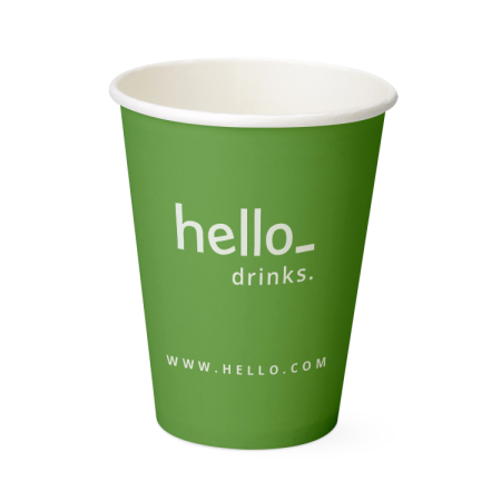 A green coloured organic paper cup available with custom printing options for a cheap price at Helloprint
