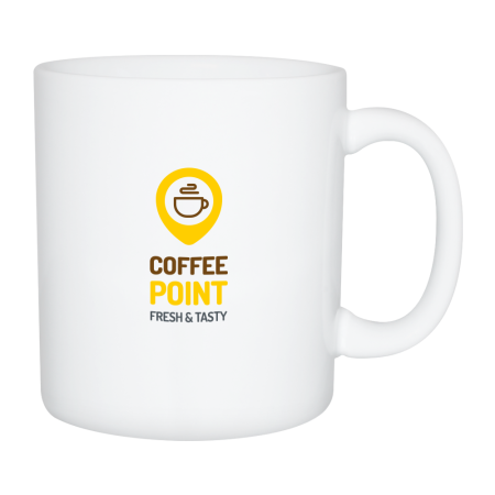 A white XXL mug available at Helloprint with a custom logo or image printed on the side at a cheap price