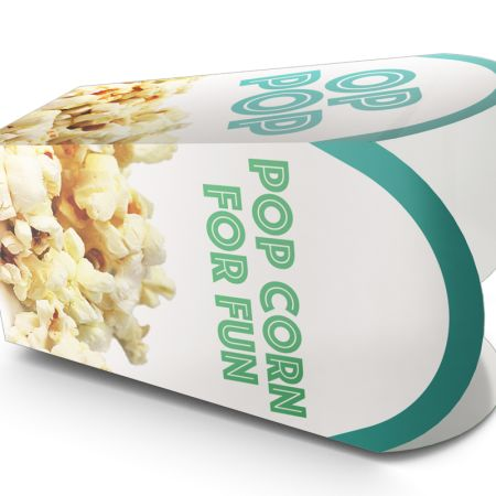 A special popcorn box printed with a popcorn photo print, to personalize on Helloprint