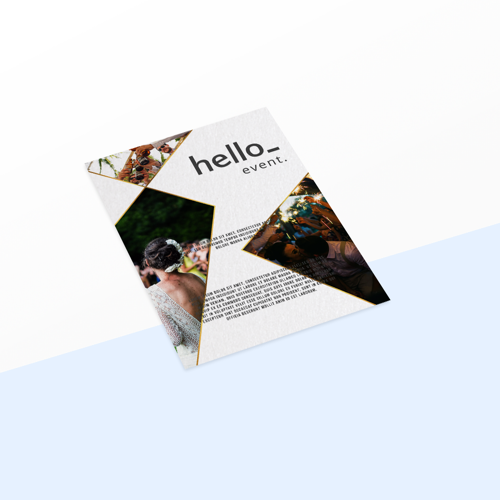 Custom printed metallic white flyer available at Helloprint