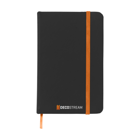 A black notebook with an orange strap available at Drukzo with custom printing options for a cheap price