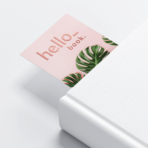 Bookmarks with rose gold foil paper finish, available at Helloprint
