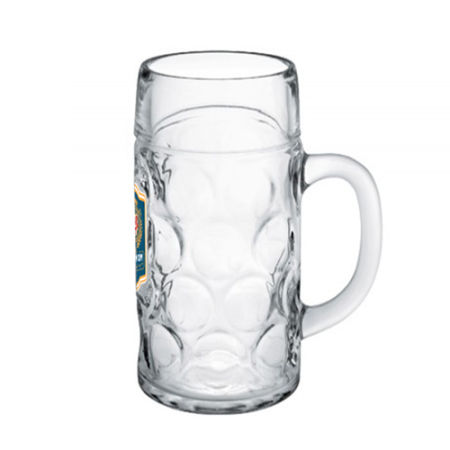 A 1 litre octoberfest bier glass available at Helloprint with a custom logo or image printed on the side.
