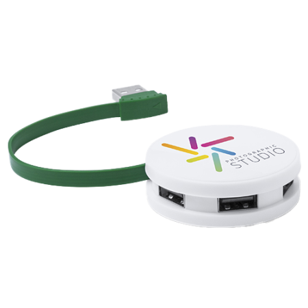 Green USB hub by Helloprint. A great promotional tool. Learn more about our products and easily order print online.