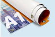 A rolled up A1 sized top banner available at Helloprint with personalised printing options for a cheap price