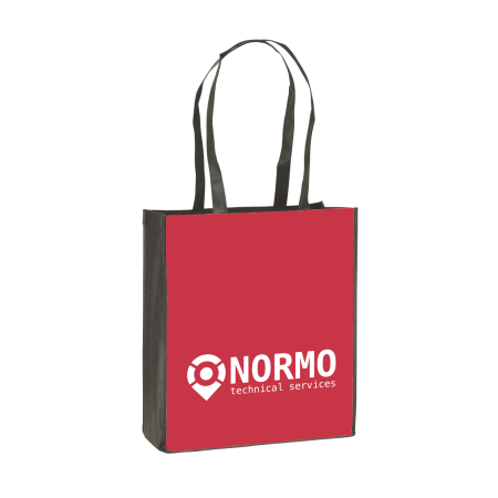 A red coloured shopping bag available at Helloprint with customised printing options for a cheap price