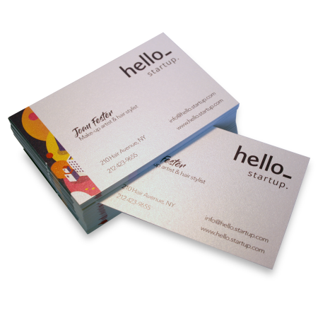 Get your uniquely designed pearlescent business cards printed at Drukzo. Perfect for potential clients and partners.