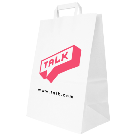 A white paper bag available at Helloprint with personalised full colour printing solutions for a cheap price