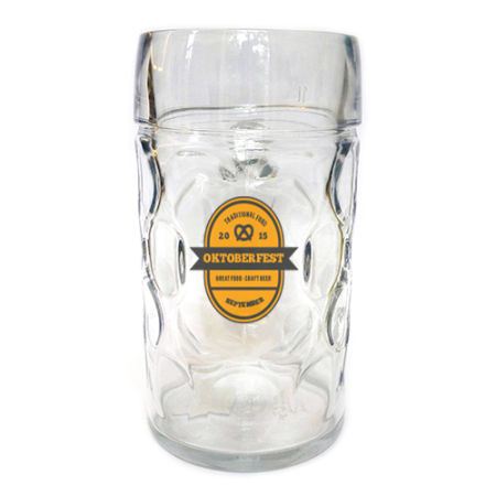 A 1 litre Octoberfest beer mug available with personalised printing solutions at a cheap price at Helloprint
