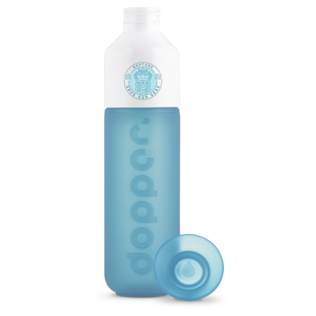 A blue Dopper water bottle available to be printed with a personalised logo and text at Helloprint.
