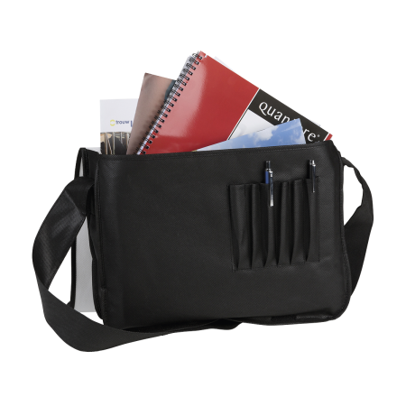 Cheap shoulder strap travel bag for books, laptop, paper, and stationary. You can personalise the bag with your logo or text.