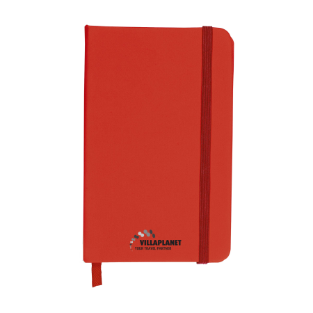 A red coloured pocket notebook available with custom printing options for a low price at Drukzo