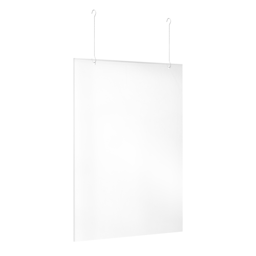 Doorzichtig plexiglas scherm, geschikt om aan het plafond te hangen.