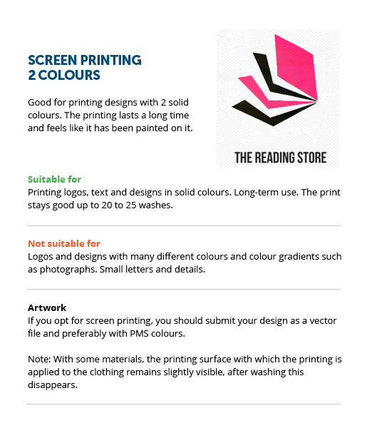 2 colours (screen printing)