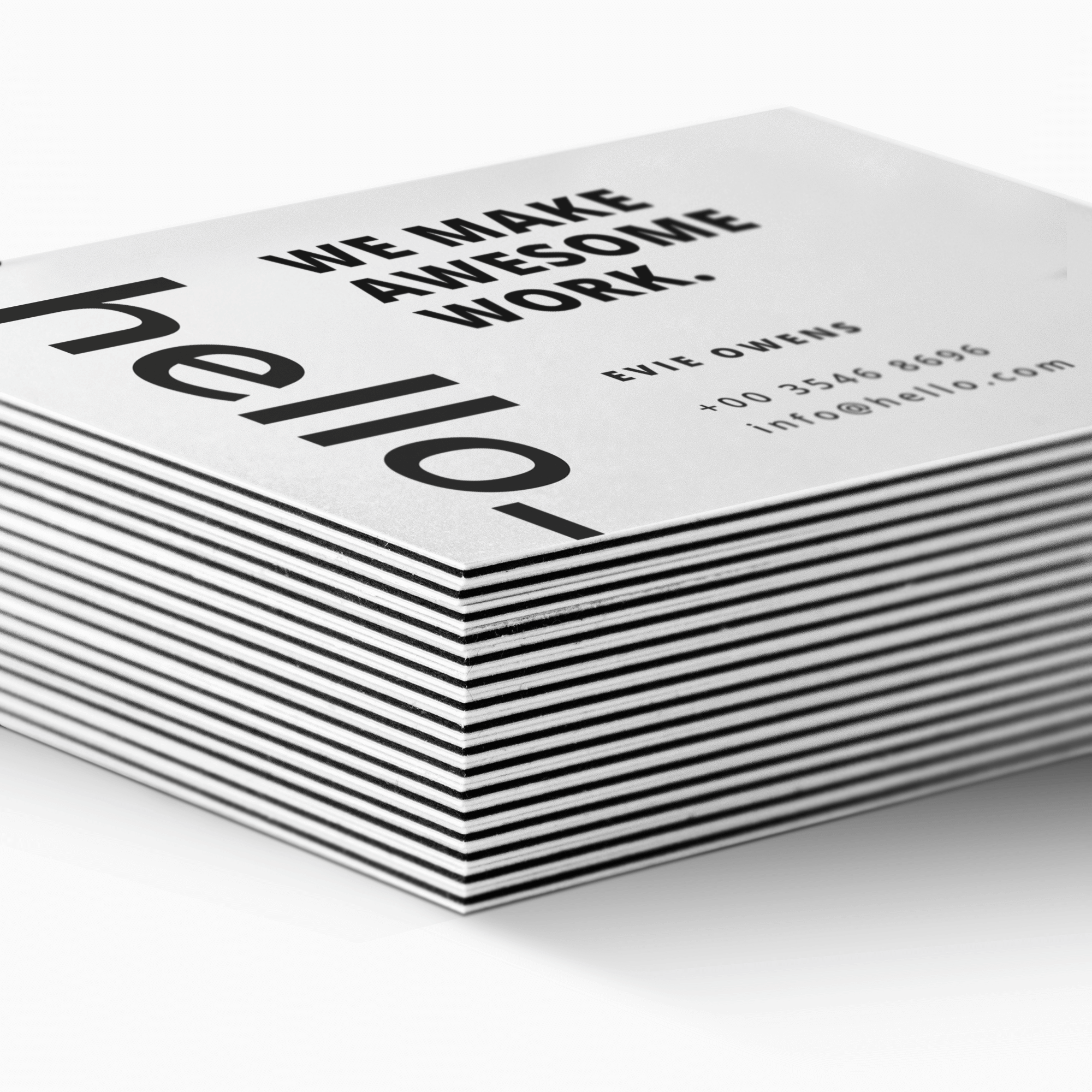 A stack of multi-layer business cards available at Helloprint with customised printing options for a cheap price