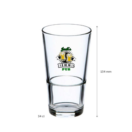 A 34 cl stackable beer glass available at Helloprint with custom printing solutions at a cheap price