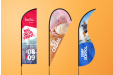 A banner of beach flags which are available at Helloprint with custom printing options for a cheap price
