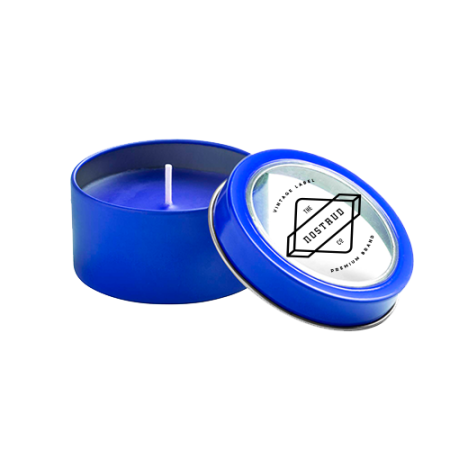 Blue ambiance candle in a metallic container. At Helloprint you can personalise the lid with your own logo or design.
