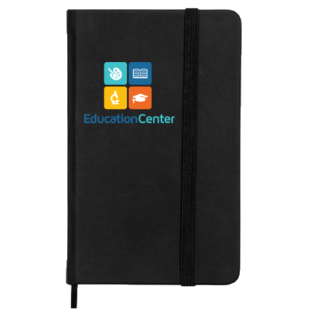 A black note pad available to be printed with a custom logo or image on the cover for a cheap price at Helloprint