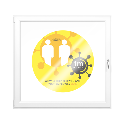 Yellow Anti COVID-19 Window Stickers