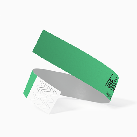 Green event wristband for festivals or parties at Helloprint. You can personalise it with your event logo or text.