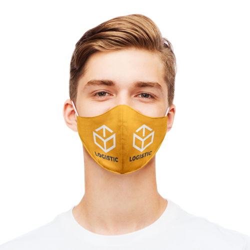 """A man wearing an orange mask that says """"hello foodpoint"""""""