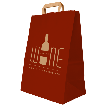 A red coloured paper bag available with personalised printing solutions for the cheapest prices at Helloprint