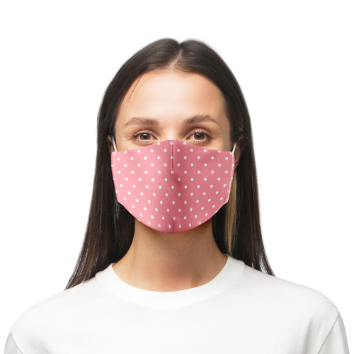 A pink close fitted face mask printed at Helloprint