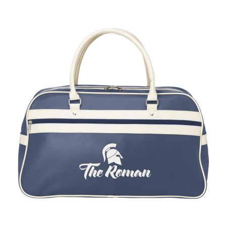 A blue coloured Retro Sport travel bag available to be printed with a custom logo and text at Helloprint.