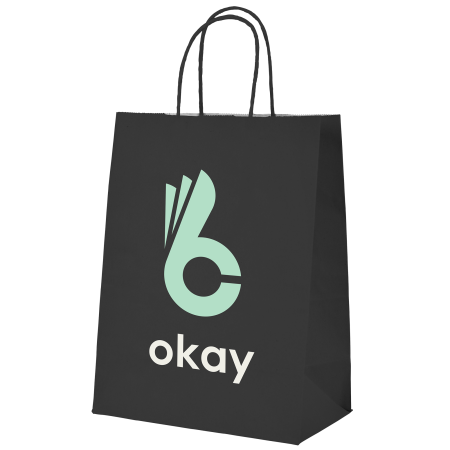 A product image of a  black coloured Okay Kraft bag available with a personalised logo or image printed on the side at Helloprint