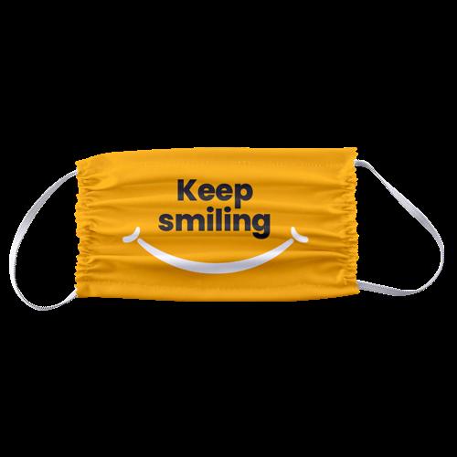 Yellow rectangular mask that says Keep Smiling