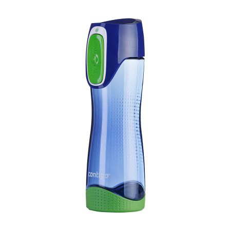 A product image of a blue and green coloured contigo swish water bottle available to be printed with a custom logo at Helloprint