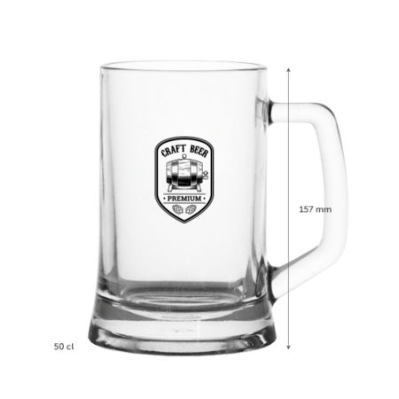 A 50 CL German beer mug available with personalised printing solutions for a cheap price at Helloprint