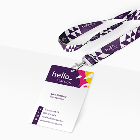 A PVC Card with a circular hole punched in, available at Helloprint with custom printing solutions for cheap prices