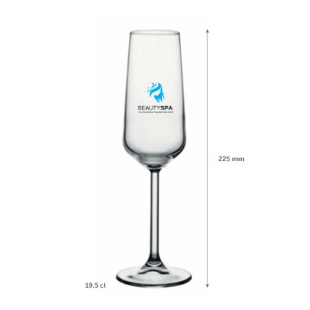A 19.5 cl champagne glass available with personalised printing solutions for a cheap price at Helloprint