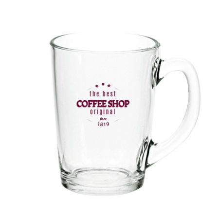 A product image of a glass tea or coffee mug available with a custom logo or image printed on the side at Helloprint
