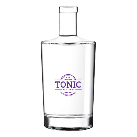 A small 75 cl glass bottle available with personalised printing solutions for a cheap price at Helloprint