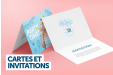 A photo card and invitation banner highlighting printed photo cards and invitations available at Helloprint for a cheap price