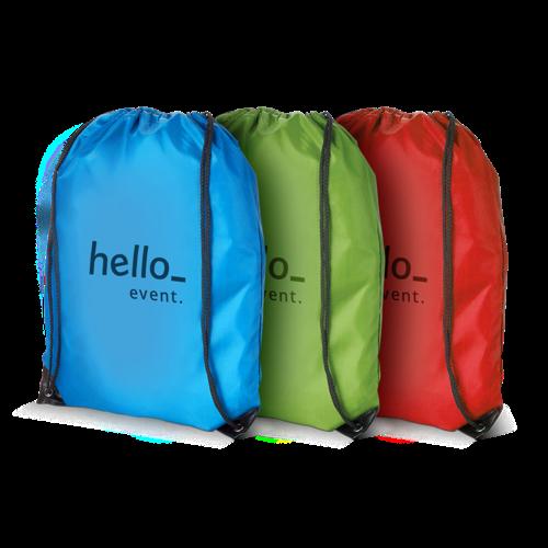 Polyester rugzakjes goedkoop laten bedrukken met je bedrijfsnaam of logo bij Helloprint.
