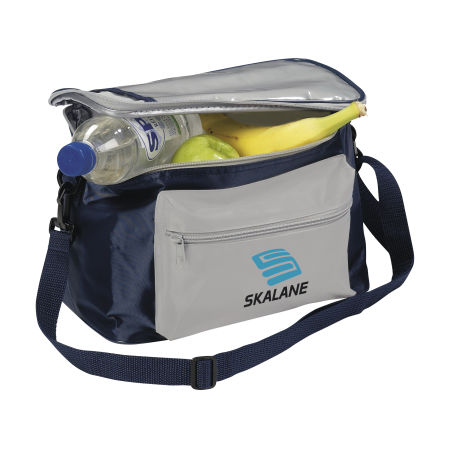 A blue and grey coloured cooler bag available with custom printing solutions for a cheap price at Helloprint